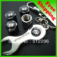 car logo tire valve caps 4pcs+wrench key chain fit for Hyundai