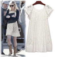 Newest Women's Ladies Summer New Fashionable A-Line Famous Star Branded Cotton Lace Women Dress