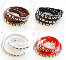 D018 Fashion Jewelry Punk Women Men Silver Shinny Square Nail Weave Buckle PU leather Charm Bracelets (Min Order $12 can mix)(China (Mainland))
