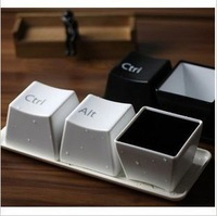 Free shipping Keyboard cup fashion cup per set include ctrl del alt 3 pieces mugs cup