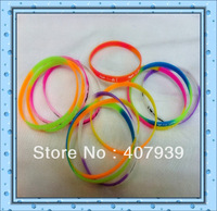 Free ship  colorful silicone bracelet  silicone wristbands custom wrist band  0.5cm silicone bangles