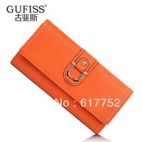 Women's fashion wallet, female long design genuine leather day clutch, 2013 women's small change folder, free shipping