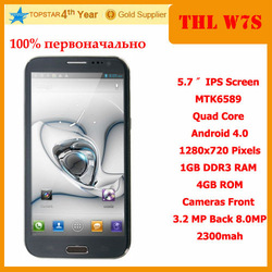 "Genuine THL W7 Dual core mobile Android 4.0 OS 5.7"" IPS capacitive display 1GB RAM \ 4G ROM Superior fashion cellphone!(China (Mainland))"