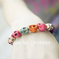 D027 Fashion Jewelry Man Women Elastic Strap Colorful Skeleton Shamballa Charm Bracelets