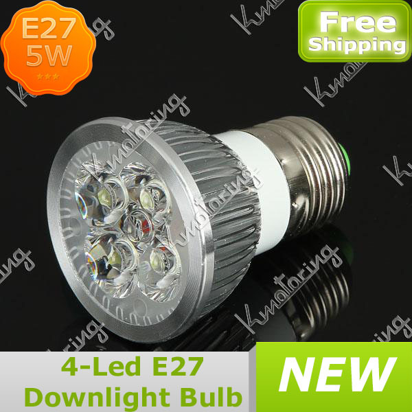 Wholesale 4x1.25W Downlight Bulb Light Spotlight 85~265V CE ROHS Certificated 5W E27 Aluminum Shell Acrylic Lens LED Lamp(China (Mainland))