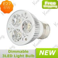 10x Wholesale 3x2W E27 Downlight Bulb Light Spotlight 85~265V 6W E27 Dimmable 3 LED Light Free Shipping