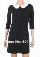 Free Shipping Sexy Slim Lady Woman lace collar dress Black Mini Dress S M L #5336