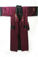 Burgundy Black Reversible Two-face Men's Satin Embroider Robe Kimono Gown Sleepwear with Dragon