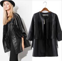 2015 Fashion Ladies Elegant Black PU Leather Tassel Jacket Women Coat Vintage Stylish Open Stitch Loose Outwear Casual Brand Top