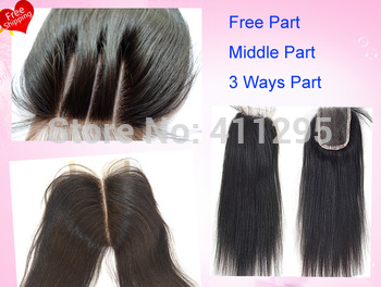 "Cheapest virgin brazilian hair lace top closures 3.5x4""swiss lace closure bleached knots silk straigt hair ,Free shipping"