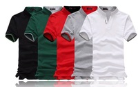 Freeshipping wholesale mens cotton multi-color polo shirt short sleeve plain t-shirts, mens polo shirts