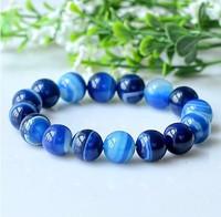 Unisex 6mm Natural Agate Bracelet Aquamarine Elegant Blue Beads Bracelets Bangles 057