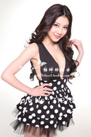 2012 spring and summer fashion vintage pinup dot slim sexy low-cut waist one-piece dress