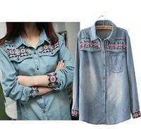 2014  fashion korea edition  cowboy  dress women's denim  shirt