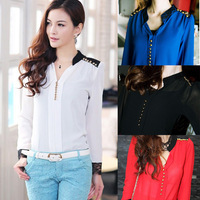 Women's Long Sleeve Stand Collar Stitching Lace Blouse Chiffon Top Shirt Button  #L034626