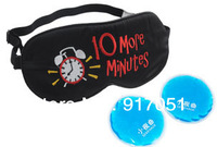 "Free shipping Funny ""10 more minutes"" words pattern Travel Sleep Eye mask,eye shade,silk sleeping mask+2 GEL cold/hot compress"