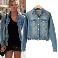 2014 Classical Casual Retro All Match Women's Coat Jeans Jackets Ladies Cowboy Punk  Short Jacket Brands HHJ8272