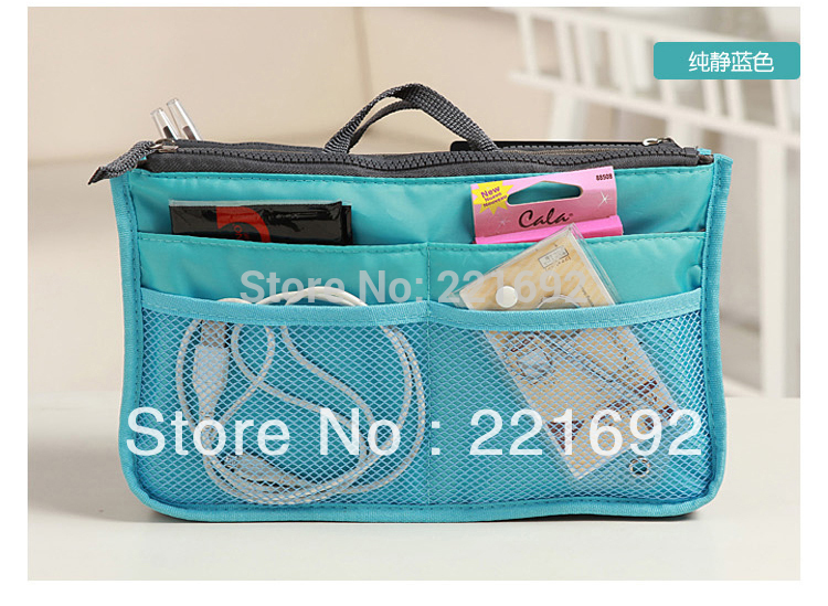 Promotion Free shipping muliticolor insert bag cosmetic makeup tool phone MP3 container Organizer cosmetic bag 1pcs(China (Mainland))