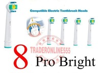 Free Shipping Min.Order Mixed US$9.9 8 pcs Generic Electric Toothbrush Heads Replacment  3D Pro Bright Fit the German Brand