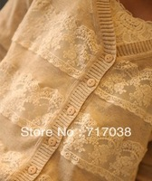 Sweaters Spring 2013 sweet all-match V-neck patchwork lace cardigan outerwear sweater female Free shipping