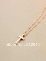 Free Shipping 2013 Fashion Jewelry 18k Rose Gold Cross Necklace Female Color Gold Chain Accessories