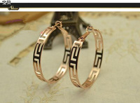 Free Shipping 18k Rose Gold Hoop Earrings 2013 Fashion Bohemia Vintage Cutout Earrings For Women E1