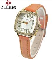 Original Design Branded Watches JULIUS Fashion Quartz Women's Wristwatch,Roman Numbers Indicate Square Dial Leather Band JA-630