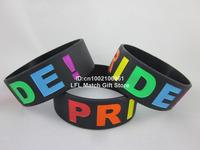 "Rainbow Pride Merchandise Wristand Bracelet Proud Colorful Wrist Arm Band,1"" silicone band,50pcs/lot,free shipping"