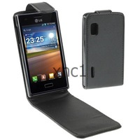 Black Up and Down Vertical Flip Holster Leather Case for LG Optimus L5