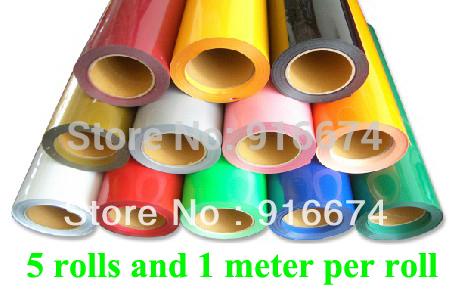 "Fast Free shipping DISCOUNT 5 pieces 20""x3' (50x100cm per roll) heat transfer PU vinyl heat press cutting plotter(China (Mainland))"