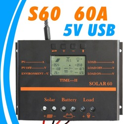 60A Solar Controller PV panel Battery Charge Controller 12V 24V Solar system Home indoor use New(China (Mainland))