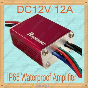Freeshipping!DC12V 12A 144W Mini IP65 Waterproof 3 Channel Red LED Repeater LED Amplifier Controller for RGB LED Strip Light