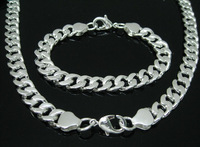 Hot selling wholesale silver men jewerly set for man fashion silver set jewelry Free shipping