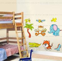 free shipping  DIY wall decal PVC cute animal sticker cartoon  sticker for nursery/kid room 50*70 cm