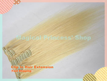 In Stock Brazilian Hair Clip In Hair Extension Silky Straight 613# Color