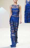 Free shipping Runway style Gorgeous eyelash lace sleeveless dress, banquet/party evening cake Blue long maxi dresses XXL