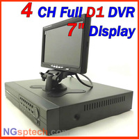 Free shipping, 2013 Newest Full D1 Luxury 4ch DVR with 7 inch display