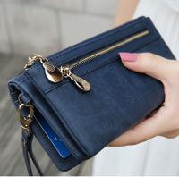 2014 New Fashion Retro Dull Polish Leather Buckle Double Zipper Long Women Wallet  Lady girl Purse Wallets bag Card