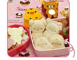 50sets/lot fedex fast ship Rilakkuma&Yellow Chicken Sushi molds/Mould Cutter Bento Plastic Cake Ice Cream Mould Retail(China (Mainland))