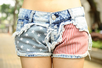 Wholesale Price Fashion Stars Stripes US Flag Classical Summer Denim Shorts Free Shipping