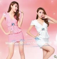 DS nightclub WJ evening costumes KTV young lady clothing nightclub sauna sexy low bosom skirt with shoulder-straps, 2696