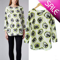 Free shipping/Women's Fashion/Women  Little Horse Printed Chiffon Shirts, Lady Casual Blouse/Wholesale+Retail