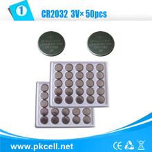 Pkcell 50 Pcs CR2032 3 V Lithium botão bateria plana atacado cr 2032 bateria de lítio para relógios grátis frete(China (Mainland))