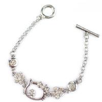Free shipping 10 pcs/lot, Wholesale Hello kitty fashion bracelets Women's charm bracelet Silver plating with CZ diamond bracelet