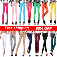 60% OFF candy colors  pencil pants slim summer Jeans female skinny elastic pencil pants pants casual plus women's trousers
