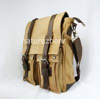 BFZ1 Vintage Khaki  Washed Canvas Leather Shoulder bag messenger mailbag school wwork bag for women girl boy men