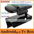 EU2000/HD2 Google Android 4.0.4 TV Box Allwinner A10 ARM Cortex A8 WiFi HDMI Built-in 5.0MP Camera and MIC RAM 1G/8G AV Output