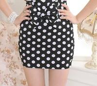 Black High Waist Polka Dot Pencil Skirt With Bow Women Clothing Summer 2014 Sexy Elegant Fashion Wear Mini Bodycon