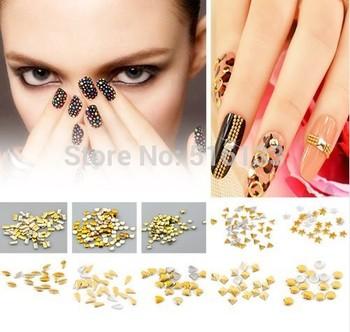 (Minimum Order 3 Lots)  Free Shipping 1000pcs/lots Gold Plated Metallic Nail Art Decoration Studs Tips