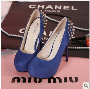 2013 fashion sexy rivet Suede Clubwear Women Stiletto High Heel Platform Pumps Shoes Black/blue colour(China (Mainland))